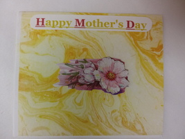 Mother's day yellow and pink blank card with geranium - $3.25