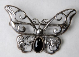 Sterling Silver & Onyx Butterfly Pin Brooch 925  - $35.00