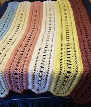 """Vintage Afghan Throw Stripes 85x48"""" Blanket Cottage Core Multi Colored - $39.60"""