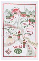 Now Designs Tea Towel North Pole Elf Elves Dish Towel Nwt 100%Cotton Red Green - $12.95