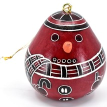 Handcrafted Carved Gourd Red Snowman Winter Ornament Made in Peru