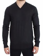 Dolce & Gabbana Gray Silk Cashmere V-neck Sweater Pullover 1403654 - $276.58