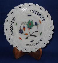"6"" Marble Plate Malachite Floral Grill Work Inlaid Handmade Mosaic Home Decor - $33.50"