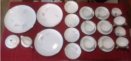 """39PC Mikasa Fine China Dinnerware Set """"Primrose"""" Series In Platinum Trim #8194 - $475.00"""
