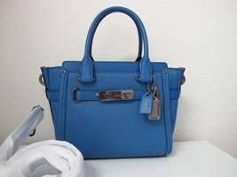 New Coach Pebble Leather Swagger 21 Lapis Blue Satchel Handbag 37444 - ₹15,514.27 INR