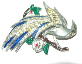 LARGE VINTAGE UNSIGNED RHINESTONE ENAMEL PEACOCK BIRD OF PARADISE BROOCH... - $75.00
