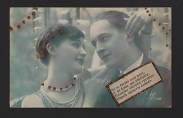 PHOTO POSTCARD 1920s BRIGHTNESS EMBOSSED GLAMOUR COUPLE PIN UP GIRL ROMANCE - $9.99