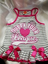 Simply Dog Cotton Spandex Pink Glam Girl Ruffled Doggie Dress Sz M Out o... - $5.00