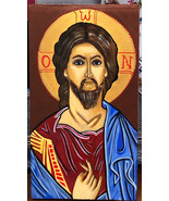 Jesus Christ Christian Orthodox Icon Original Art Acrylic Painting on Ge... - $95.00