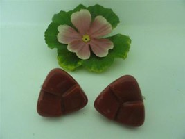 Vtg Bakelite Earrings Clip On Rust Red Lucite Carved Butto Plastic Pin U... - $15.85