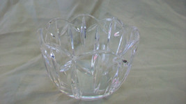 ROUND CRYSTAL CANDY BOWL, SCALLOPPED EDGES, RIBBED SIDES - $44.54