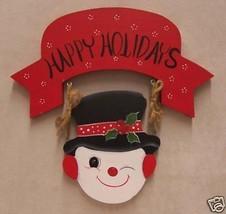Snowman Wall Hanging Wood Wooden Happy Holidays Christmas Seasonal Decor - $8.90