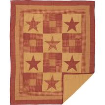 Ninepatch Star Patchwork Throw - Burgundy Tan Stars - Vhc Brands
