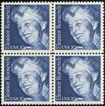 1984 Eleanor Roosevelt Block of 4 US Postage Stamps Catalog Number 2105 MNH