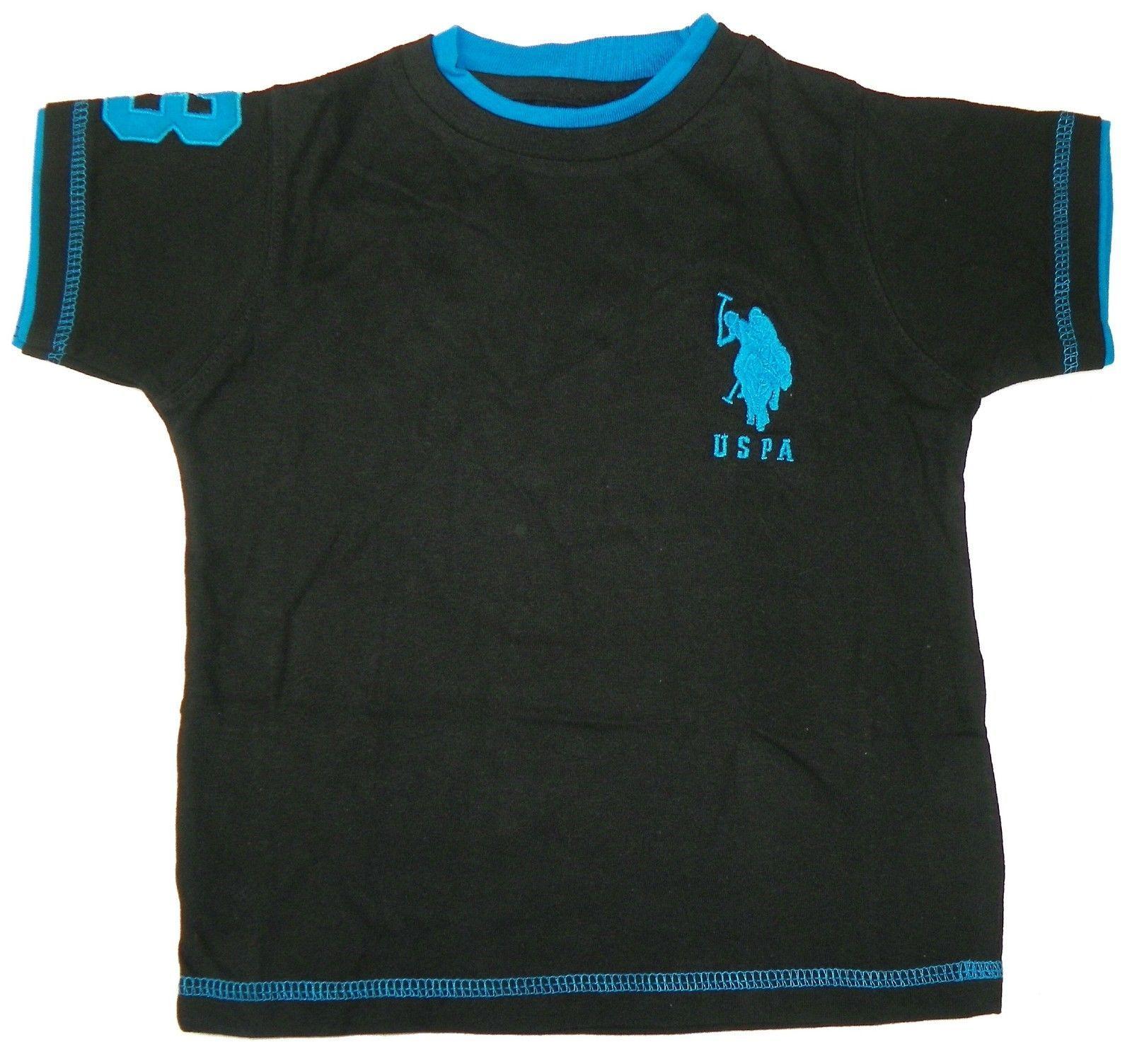 Size 5/6 U.S. Polo Assn. Shirt Boy's Double Crew Tee Black with Blue Logo