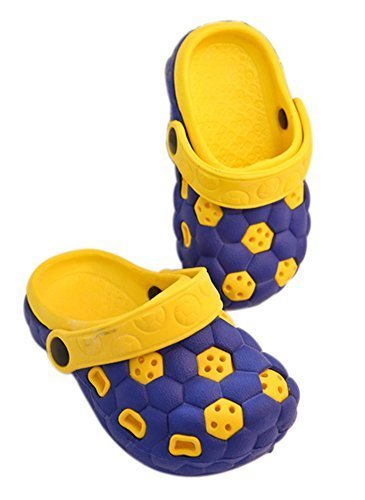 Kids Sandals In/Outdoor Toddler Clogs Shoes/Yellow+Blue Football 15CM Length