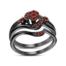 Women's Bridal Engagement Ring Set 14k Black GP 925 Silver Round Cut Red Garnet - $79.54