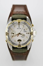Bulova Millenia Watch Mens Silver Gold Stainless 100m Brown Leather Whit... - $71.86