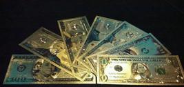 <MINT GOLD STRIKING Banknote Set>$1-$2-$5-$10-$20-$50-$100 W/COA~FREE FAST - $25.27
