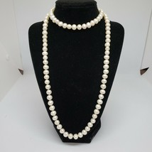 Long Real White Freshwater Baroque Pearl Necklace String of Pearls - $79.97