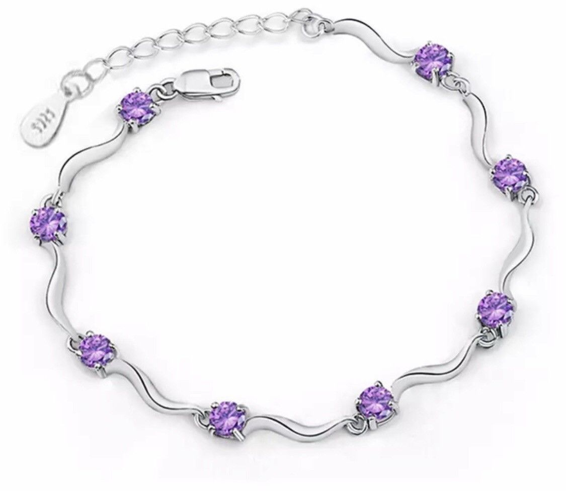 Primary image for 925 Sterling Silver Purple Crystal Zircon Eight Claws Chain Bracelet