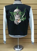 Skull With Leaf Eyes Smoke Letterman Varsity Baseball BLACK/WHITE Fleece Jacket - $29.99