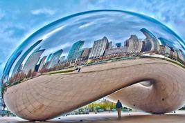 "Chicago Bean ""Sky Gate""  Skyline w/Man      2.5 x 3.5  Fridge MAGNET - $3.99"