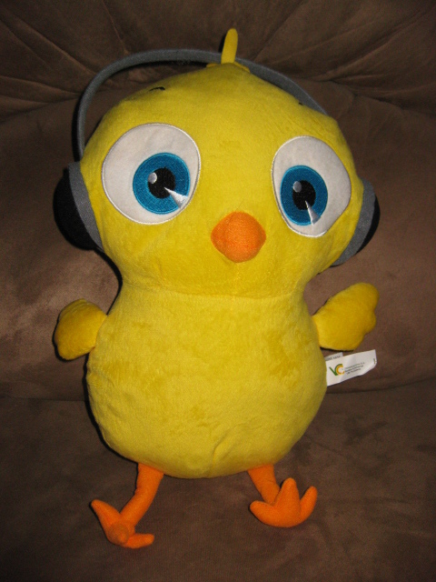 """CHICK WITH HEADPHONES Brand New Plush Stuffed Animal with Tags 13"""" SUGAR LOAF"""