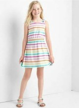 New GAP Kids Girls Rainbow Striped Bow Tie Tank Elastic Cotton Tank Dres... - $19.79