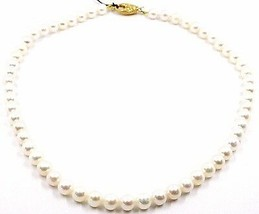 Collar, Cierre Ovalados Satinado Oro Amarillo 18K, Perlas Blancas 7-7.5 MM image 1
