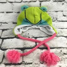 Frog Themed Girls Toddler Sz Hat Green Animal Trapper Beanie Warm Winter... - $9.89