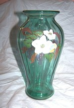 Large Fenton Blue-Green Glass Vase Hand painted by A. Brock-9 1/2 inches tall - $69.78