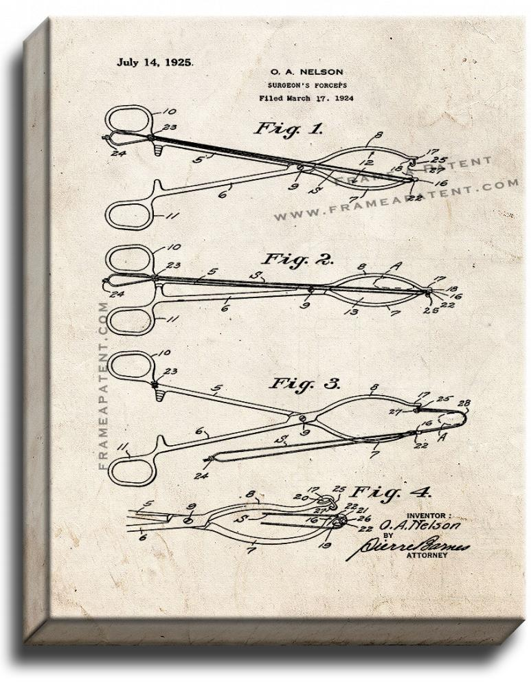 Primary image for Surgeon's Forceps Patent Print Old Look on Canvas