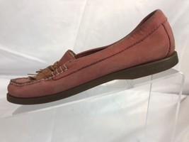 Sperry 7.5 M Top Sider Suede Pink Tan Leather Tassel Slip On Boat Gold Grommets - $23.75