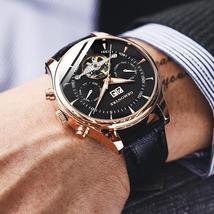 Skeleton Tourbillon Mechanical Watch Men Automatic Classic Rose Gold Leather Mec - $95.06 - $111.28