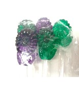 "New 14  Vintage Flower Green & Purple Stir Sticks  7.5"" Plastic - $9.89"