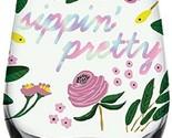"Sippin' Pretty Flower Stemless Wine Glass 20 oz 3.5 X 5"" H"