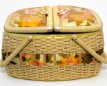 Vintage Floral Material Top Sewing Picnic Basket Pin Cushion, Plastic Wicker