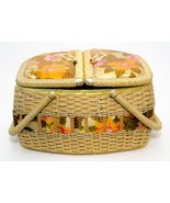 Vintage Floral Material Top Sewing Picnic Basket Pin Cushion, Plastic Wi... - $29.21