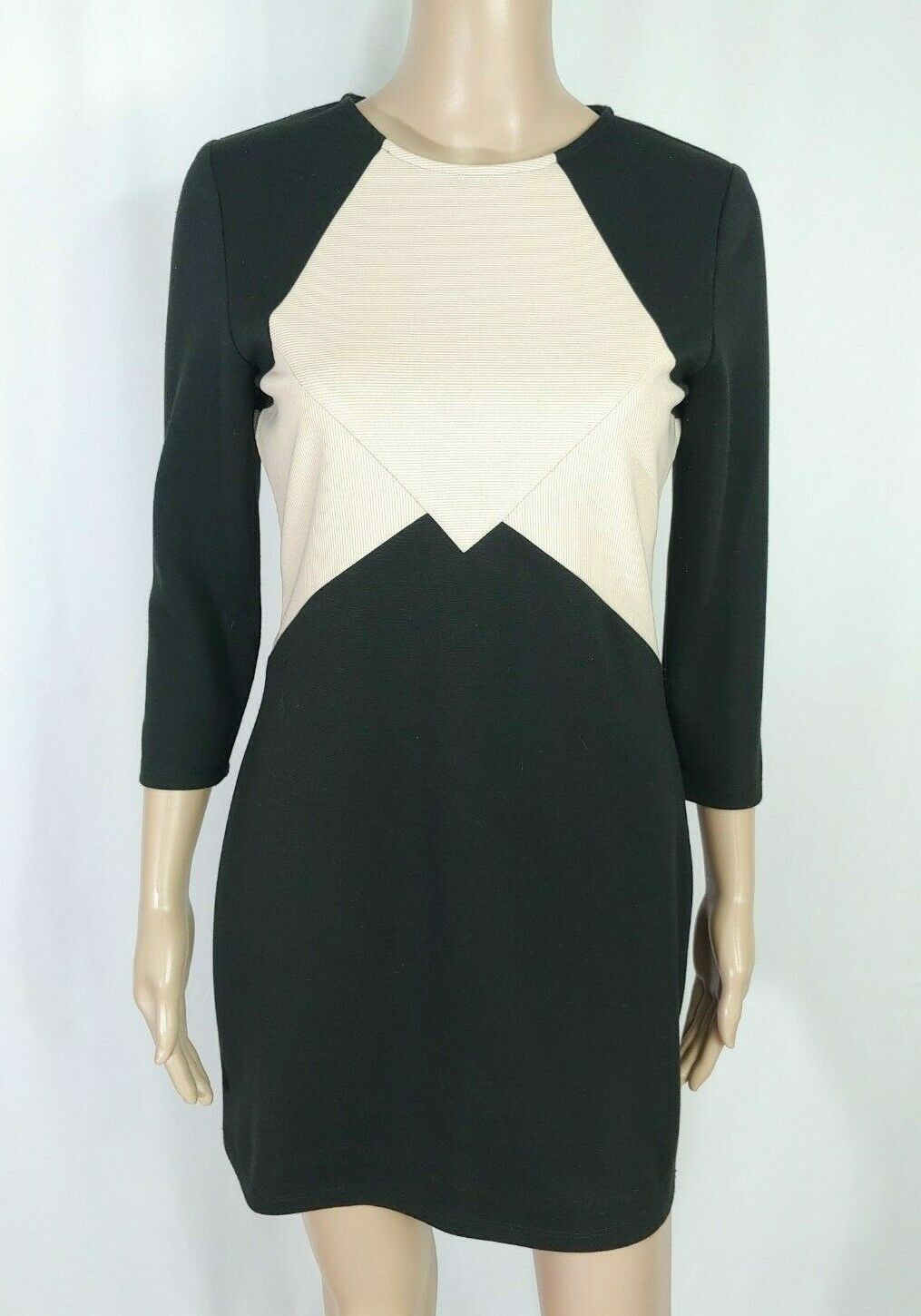 Very J Nordstrom Black Blush Pink Nude Ribbed Colorblock Sheath Shirt Dress M