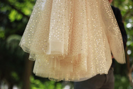 GOLD Sequin Tulle Midi Skirt Women Gold Sparkly Skirt Plus Size Party Skirt image 14