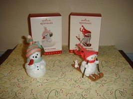Hallmark 2015 Snow Better Friends & 2017 Snowman On The Slopes Ornaments - $28.99