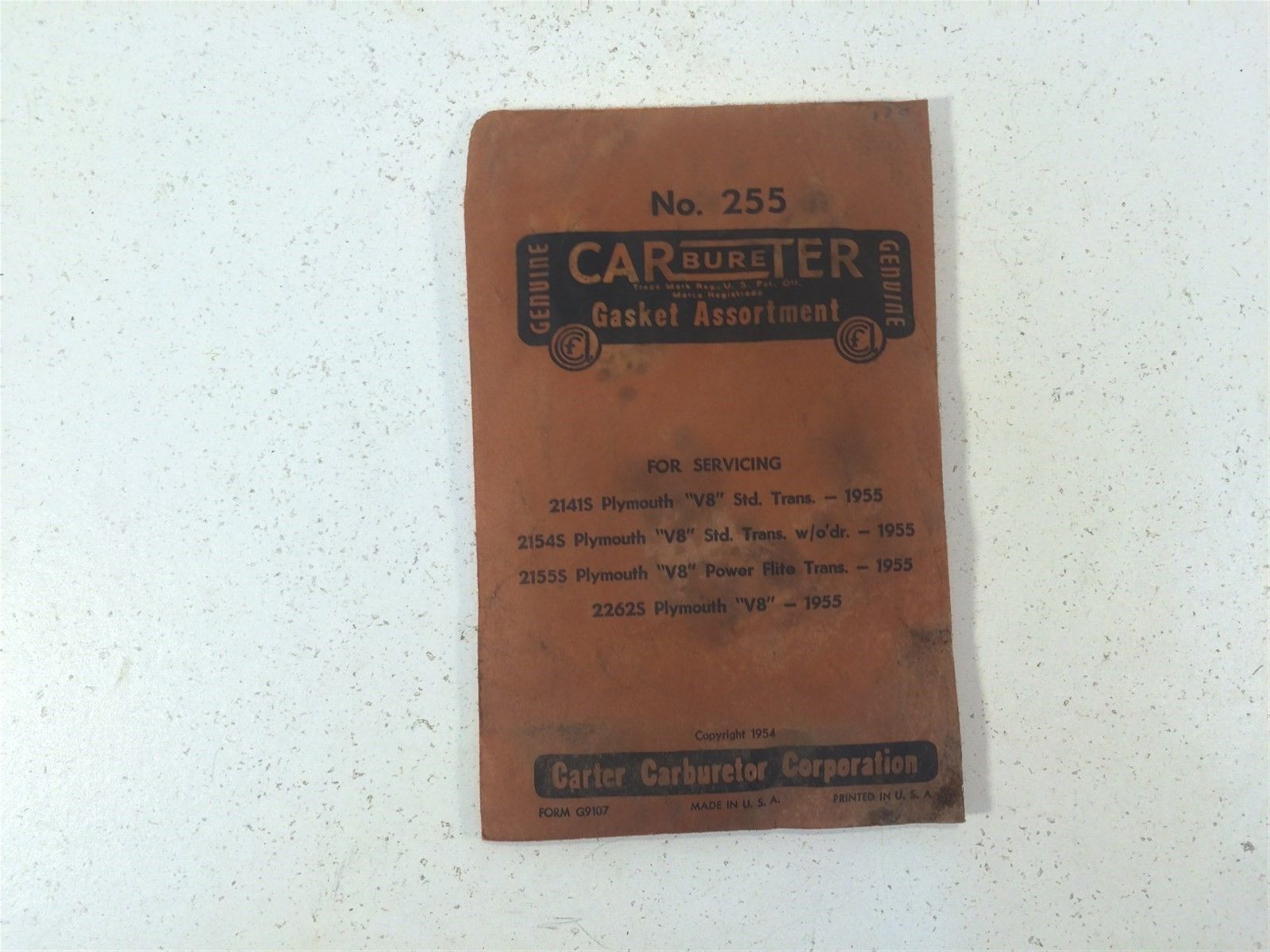 Vintage Carter Gasket Assortment No. 255 For 1955 Plymouth