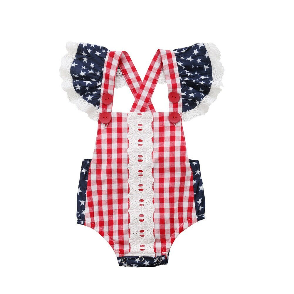 Cute Infant Baby Girls Clothes Fly Sleeve plaid Romper Bodysuit Jumpsuit Outfits
