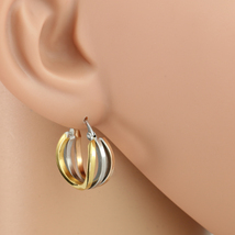 Trendy Tri-Color Silver, Gold & Rose Tone Hoop Earrings- United Elegance - $12.99