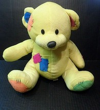 "Sugar Loaf Plush Teddy Bear 10"" Stuffed Animal Patches Patchwork Yellow Plushie - $20.20"