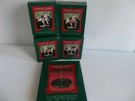 Hallmark Christmas Carousel Horse Collection Set of 4 Stand NIB 1989 Hol... - $12.99