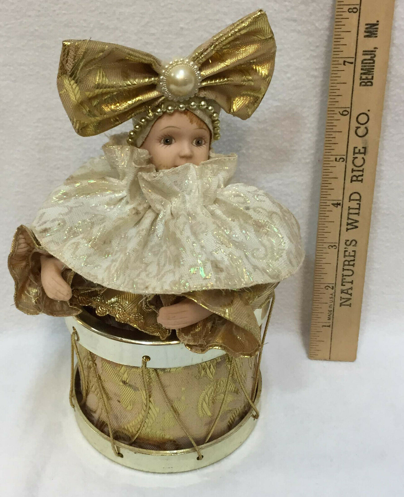 Girl Jester Music Box Drum Song Evergreen Animated Porcelain Goldtone Fabric Bow