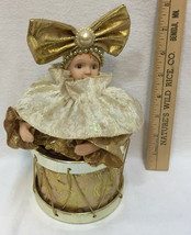Girl Jester Music Box Drum Song Evergreen Animated Porcelain Goldtone Fa... - $19.75
