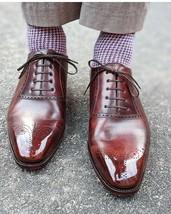 Handmade Men's Burgundy Heart Medallion Lace Up Dress/Formal Leather Shoes image 1